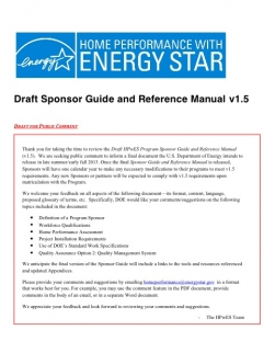 Home Performance with Energy Star Sponsor Guide Webinar Recording Posted